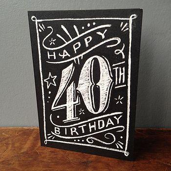 40th chalkboard birthday