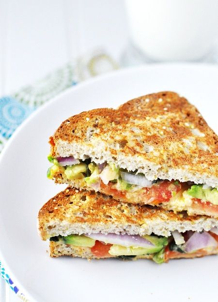 Grilled cheese with Avocado, Tomato, Cilantro & Red Onion - makes my bought water just looking at the picture