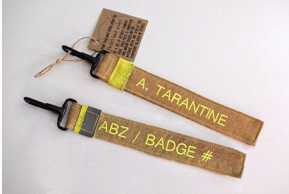 Pompier participation Gear tissu sac étiquette par AForkInTheQuilt