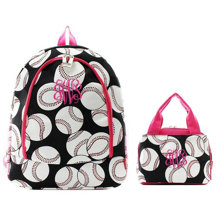 Matching Baseball Pink Personalized Kids Backpack & Lunch Bag Set
