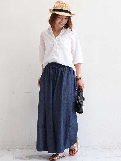 女性らしいシルエットがおしゃれ♡スキッパーシャツのコーデ♪スタイル・ファッションの参考に☆