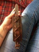 Tienda Online 100% Del Cuero Genuino Del Abrigo Vintage Brown Bracelet & Bangles Cuff Ancho Doble Joyería Para Hombres Mujeres Unisex Regalo XCJ0335 | Aliexpress móvil
