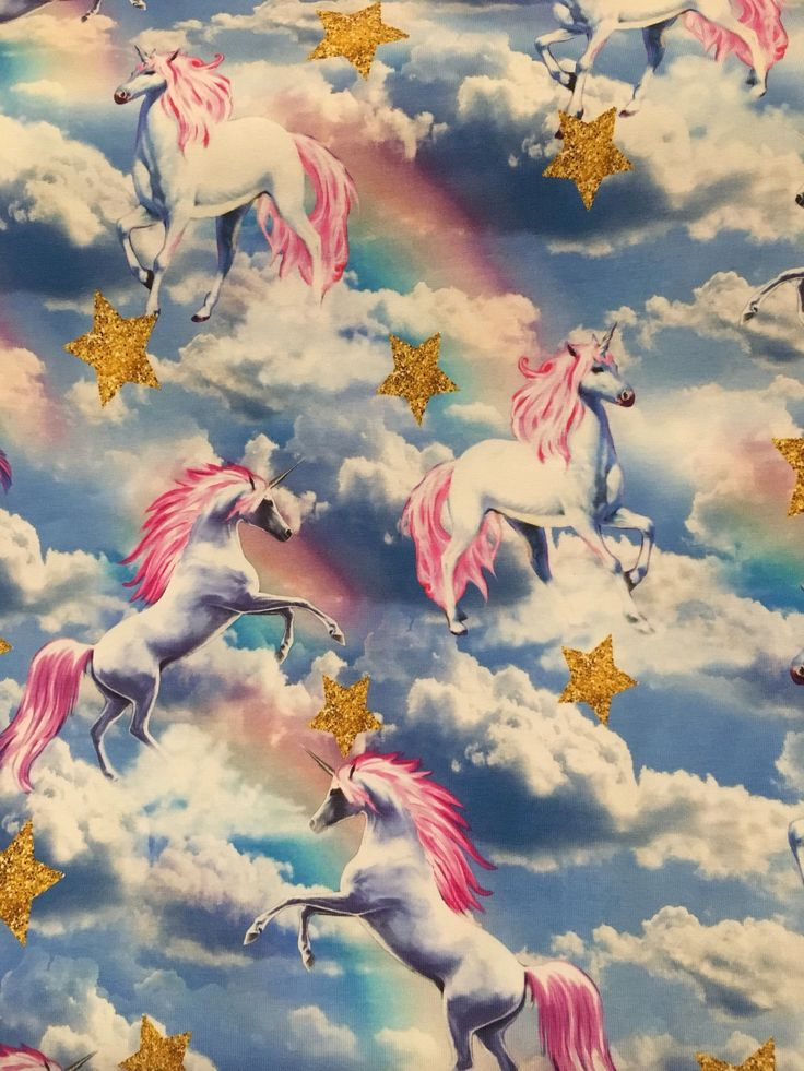 Unicorn running through the clouds, stars and rainbows digital print cotton elastane (also known as Lycra and spandex) stretch fabric. 200gsm. 92% cotton 8% spandex. Each unicorn is approx 10cm tall. This beautiful stretch knitted cotton fabric contains elastane so has superb recovery perfect for making leggings, t shirt or pyjamas for example. This fabric is approximately 150cm wide and is sold by the metre. Orders of one metre or more will be cut in one continuous length. Please get in...