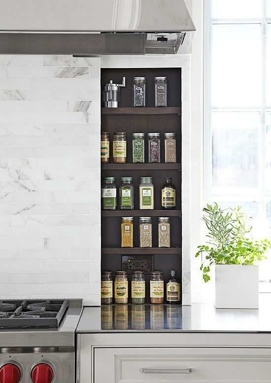 Clever Kitchen Storage Ideas For The New Unkitchen -laurel home THE UNBUSY MARBLE TILES, DK WOOD SPICE RACK, SOFT GRAY LOWERS
