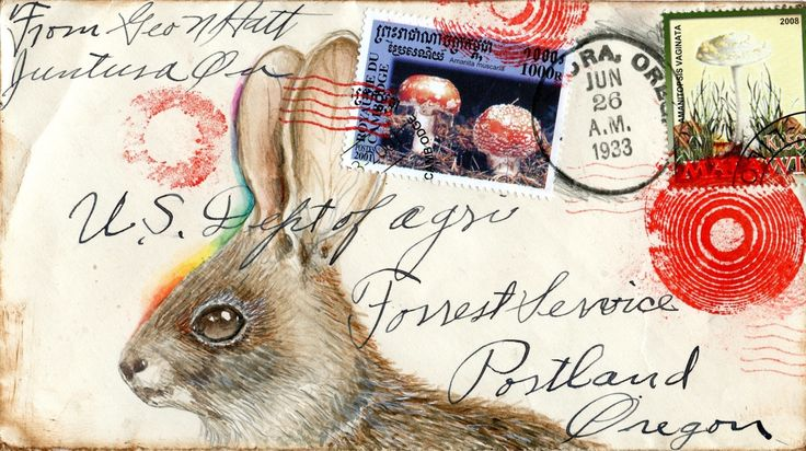 inkhead:    bunny and shrooms postcard, gouache, 2012  mail art originals and postcards on Etsy (eyefun)  inkhead