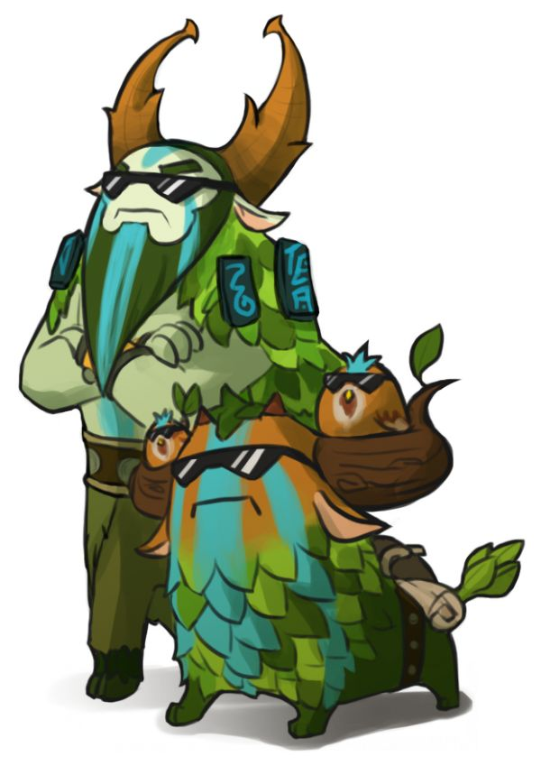 Dota 2 Cybormatt and his trusty courier Shagbark by spidercandy