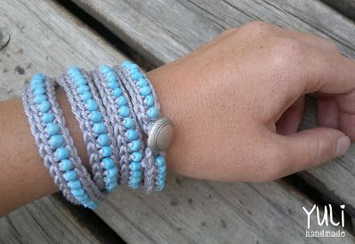 free crochet beaded bracelet pattern and other patterns ༺✿ƬⱤღ  https://www.pinterest.com/teretegui/✿༻