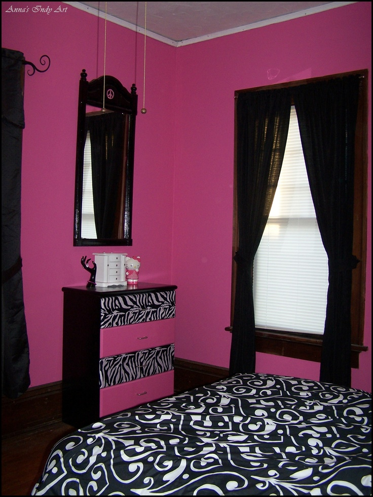 Upcycled Dresser In A Pink And Black Room  My Own -3635