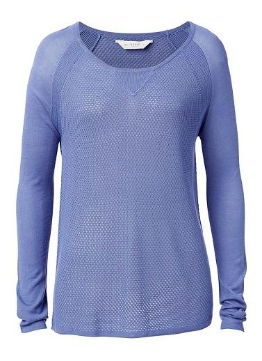 100% Viscose sweater. Features a contrast mesh knit on front and back body, raglan sleeve, scoop neck with dipped hem. Available in Various Colours.