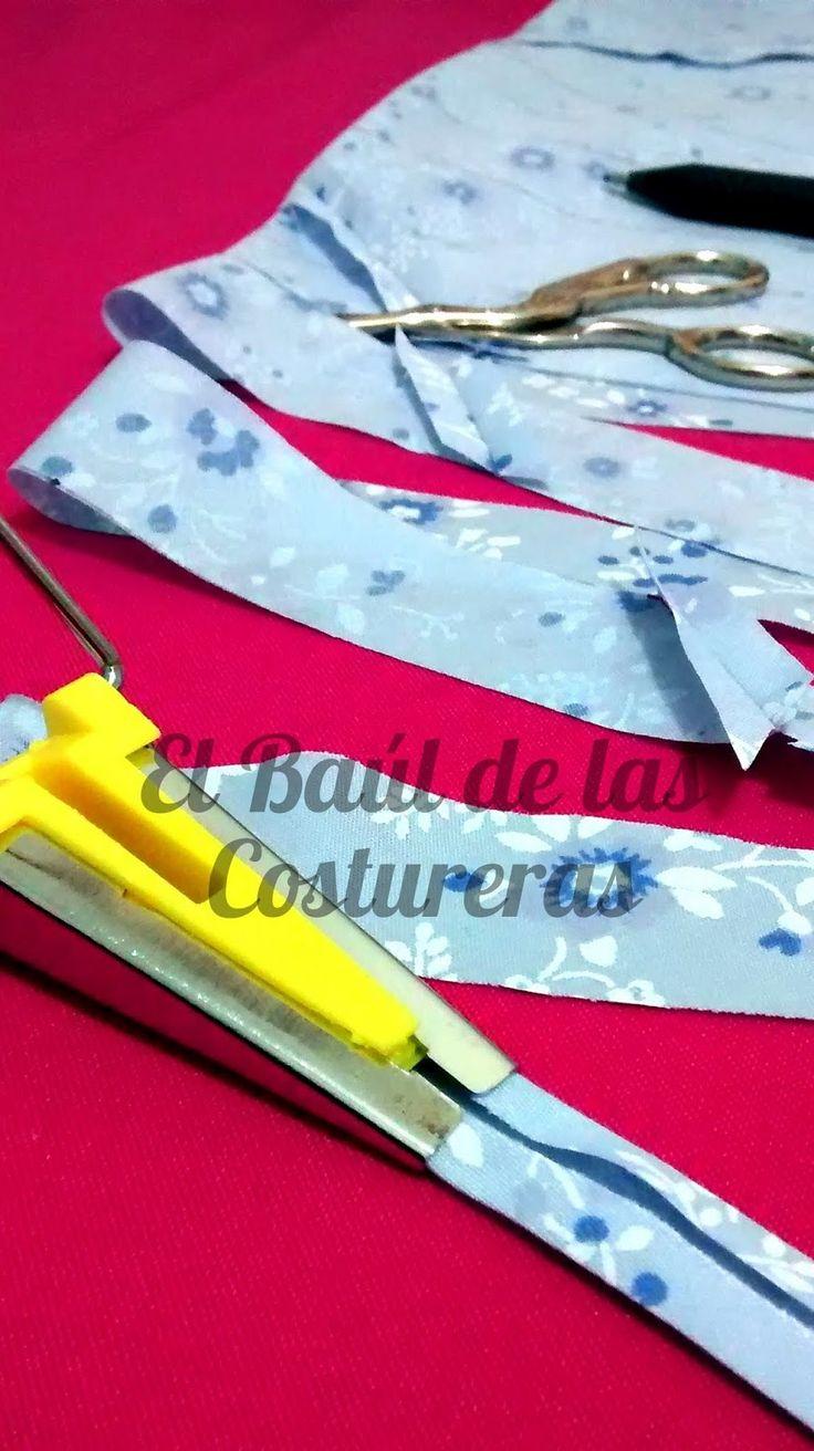 Cuántos metros de sesgo se obtienen de cierta cantidad de tela.  Preparar la tela para hacer sesgo continuo con dobleces.