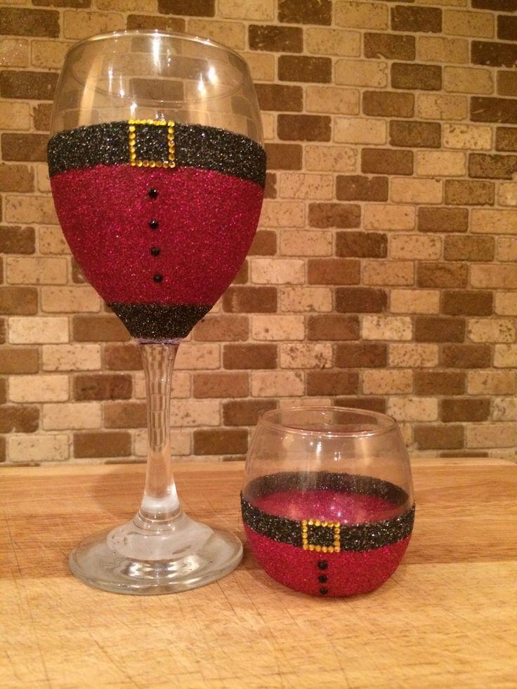 Santa glitter wine glass and tea light