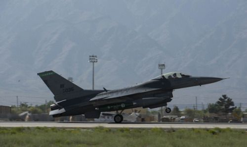 An F-16 Fighting Falcon from the 555th Expeditionary Fighter Squadron Aviano Air Base Italy lands on Bagram Airfield Afghanistan April 25 2017. The 555th EFS deployed to Bagram Airfield as part of a rotation of fighters which have had a constant presence in Afghanistan for more than a decade. (U.S. Air Force photo by Staff Sgt. Benjamin Gonsier)