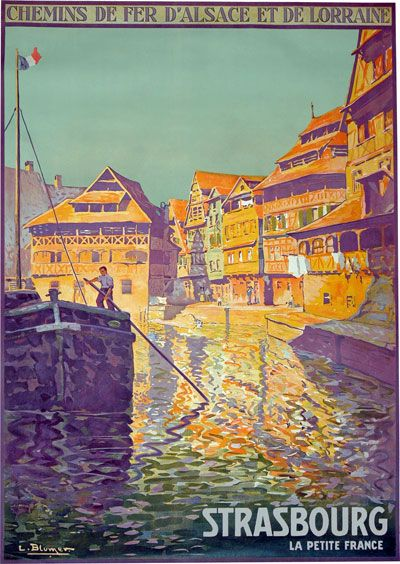 Vintage Strasbourg France Travel Poster