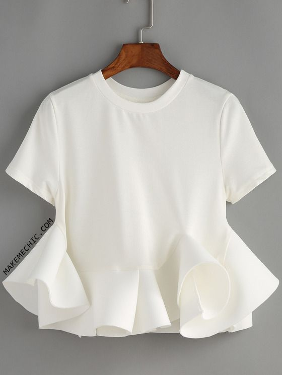 White Crew Neck Ruffle Crop Blouse