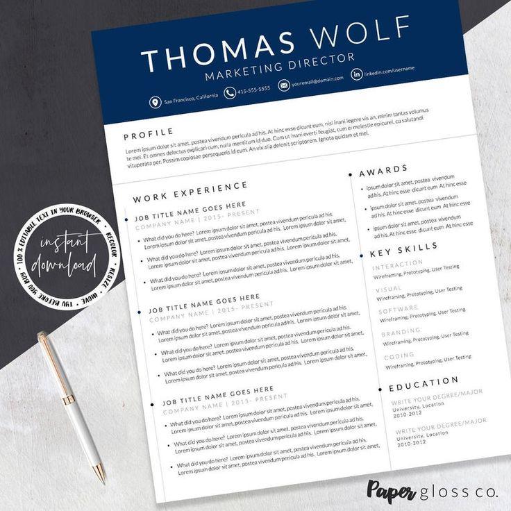 Cv template creative resume modern resume template etsy
