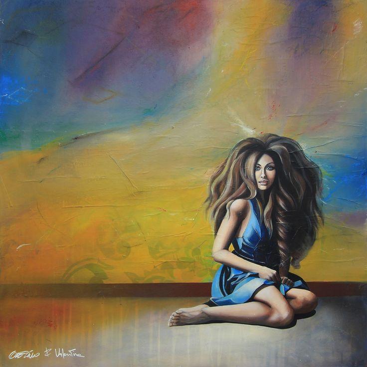 GaeTano & Valentina, AZZURRA ©2015, acrylic on paper and canvas,  100 x 100 x 3.8 cm - 39.4 x 39.4 x 1.50 in  Series: 30/TRENTESIMI   #SCENOGRAPH2ART #GaeTanoeValentina2art #Sem #Valentina #Bisicchia #painting #FineArt #Acrylic #Art #арт #искусство #female