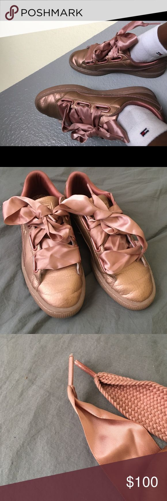 Puma shoes Puma metallic pink size 7.5 AMAZING CONDITION. so comfortable and cute. Ready to ship only wore twice and I got lots of compliments. The original price is 100 dollars.  Comment if you want a cheaper price or if you want to trade. Puma Shoes Sneakers