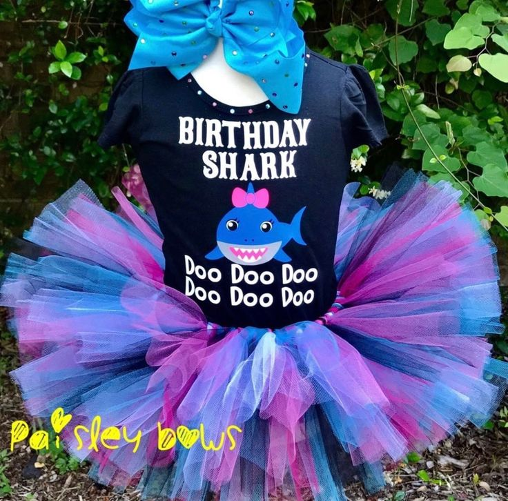 Baby Shark Tutu Set Girl Birthday Decorations Shark