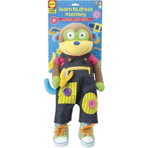 This plush monkey has 11 dressing activities that help to develop fine motor skills. Learn to snap on straps, button, hook and loop, zipper and more.