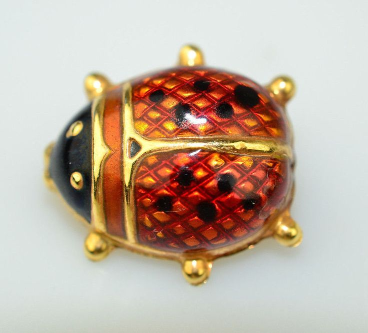"""UNO A ERRE 14K YELLOW GOLD 3/4"""" RED & BLACK ENAMEL LADYBUG PIN FROM ITALY #UnoAErre"""