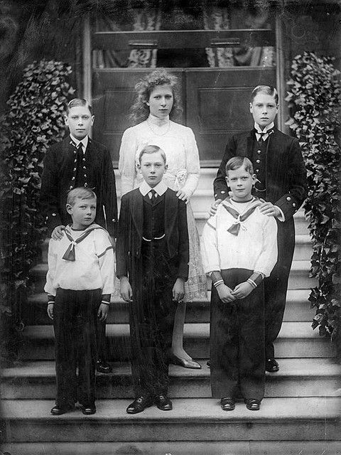 The six children of King George V and Queen Mary of Teck: Albert, Duke of York (later King George VI);  Mary, Princess Royal, Countess of Harewood; Edward, Prince of Wales (later King Edward VIII and Duke of Windsor); Prince John; Prince Henry; and Prince George, Duke of Kent