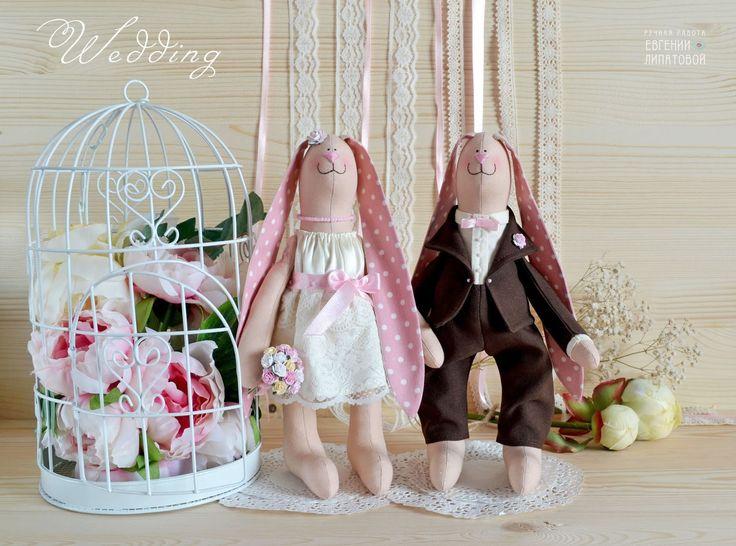 """ЗАЗЕРКАЛЬЕ: Свадебные зайцы """"Розовый шоколад""""."""