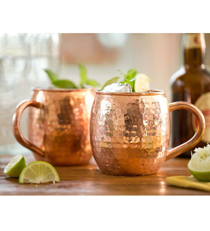 Hand Hammered Solid Copper Mugs, Set of 2   Dishes