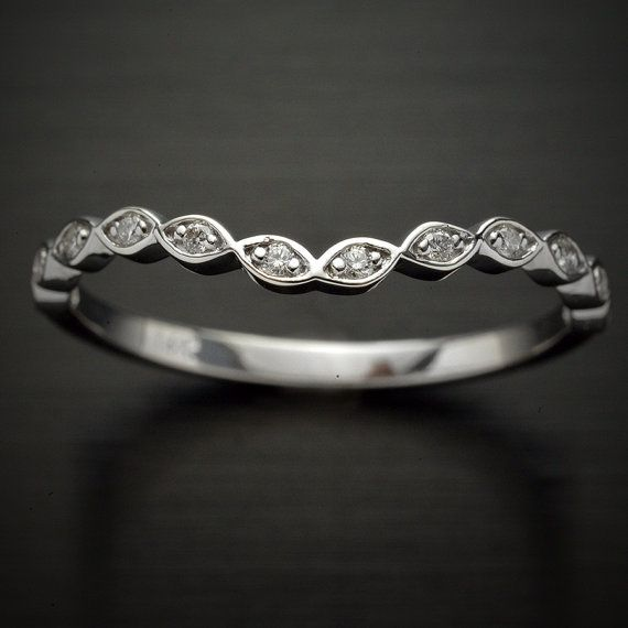 Curved Wedding band in Platinum or 14kt white by OscargamaJewelry