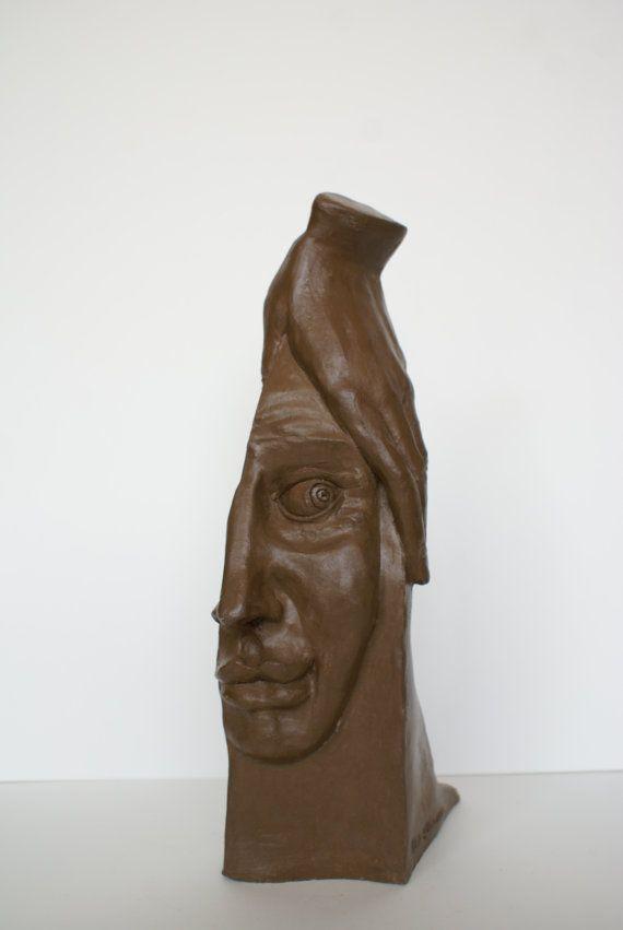Ceramic statuette Touching modern sculpture unique by Dellatola