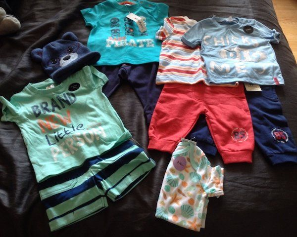 Hi most of the items above are new and still have labels on them. I'm selling them individual or all together at a cheaper price of €65 prices start from €5. Pram/stroller stroll n roll activity clip on €8 mothercare bouncer €15 blue all in one 6mth €5, green all in one coat