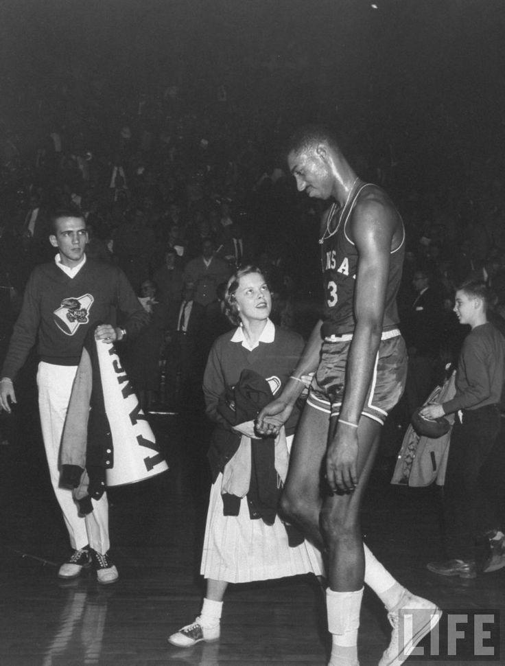 Wilt Chamberlain after a Kansas basketball game (1958)