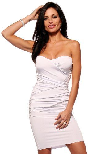 Sexy Fitted Strapless Ruched Evening Club Party Womens Mini Dress, Large, White