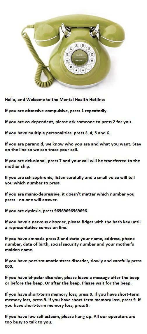 Mental Health Hotline - a little psychology humor. I was twitching by the time this was over.
