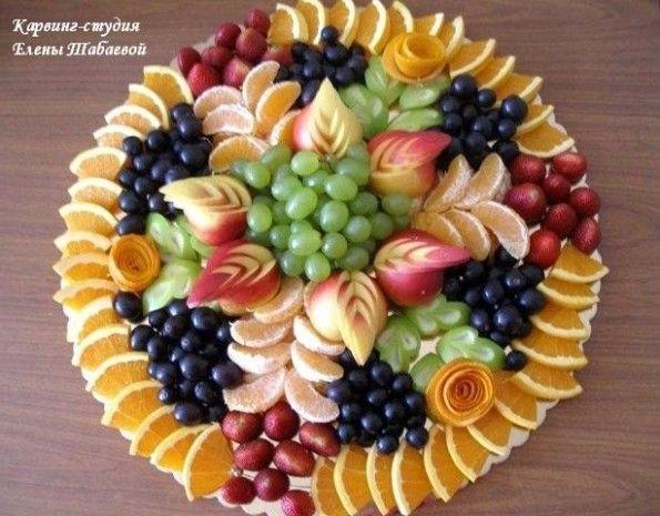 Красивое оформление фруктовой нарезки на праздничный стол