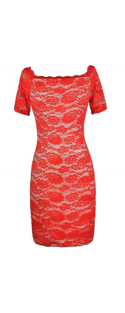 Lace Luxe Fitted Dress in Red Orange/Beige  www.lilyboutique.com
