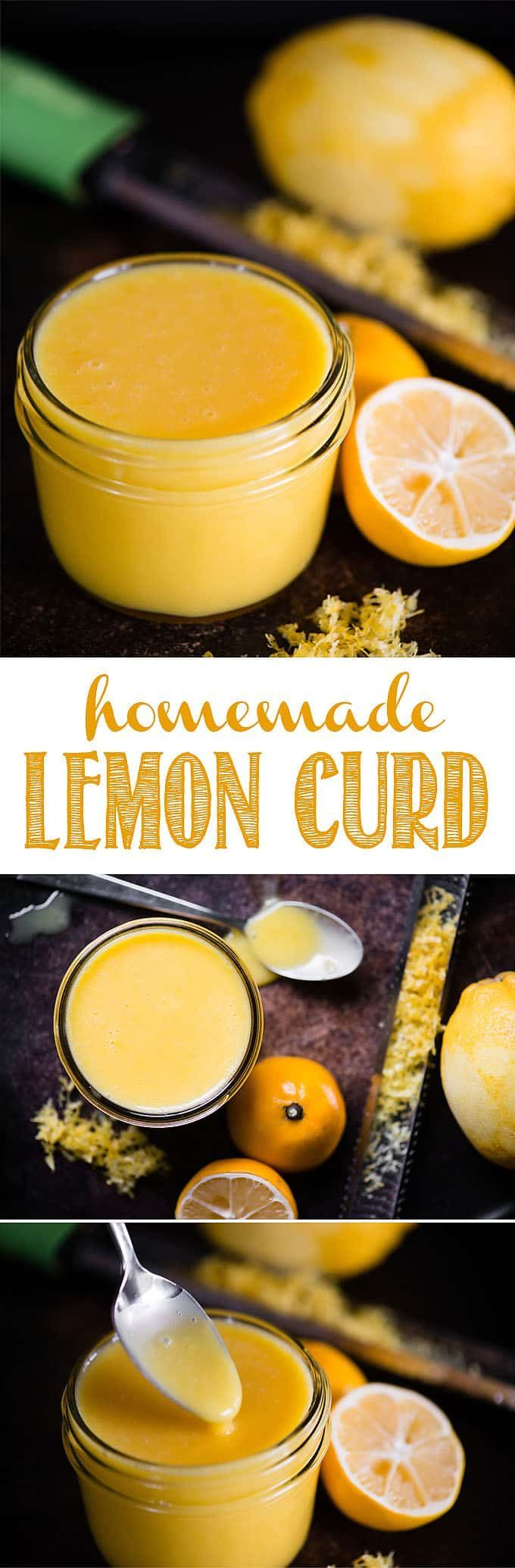 Lemon curd is easily made from scratch from fresh lemons, butter, sugar, and egg yolks. The intense citrus flavor in lemon curd is irresistible. This tart dessert spread can be used as a tangy ingredient in sweets, baked good, or breakfast. Once you make your own, you'll never go back to store bought! #lemon #lemons #lemoncurd