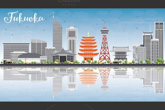 #Fukuoka #Skyline with Gray #Landmarks by Igor Sorokin on @creativemarket