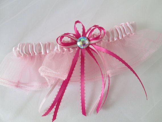 Light Pink Prom 2017 Garter, Baby Pink Wedding Garter, Pale Pink Bridal Garter with Bows & AB Crystal