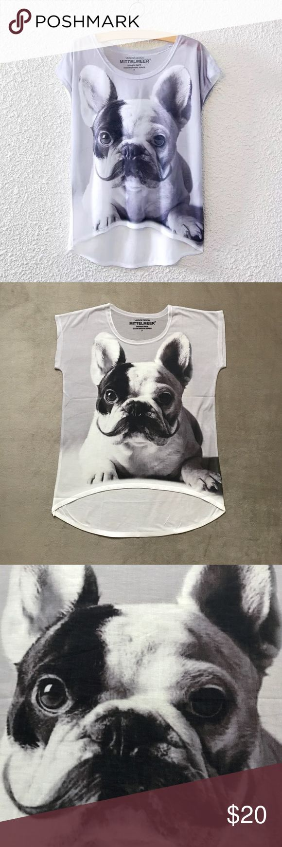 """French Bulldog Mustache T-Shirt This wonderful loose-fitting top is slightly sheer and stretchy.  Use it as a beach coverup or a cute summer top with shorts or jeans.  Comes in one size only.  Measures approximately 20"""" from pit to pit lying flat.  The top is longer in the back - please  picture for measurement.  Price is firm unless bundled. Tops Tees - Short Sleeve"""