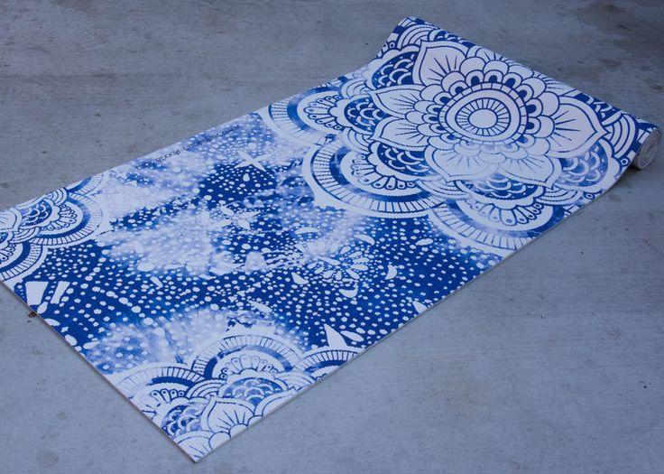 Cool printed mandala yoga mat by vagabond-goods. Grippy and perfect yoga gift for Boho yogis.