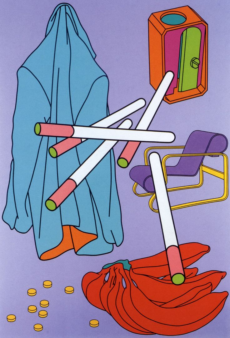 Michael Craig-Martin. The simple shapes and unusual/bold colours make this piece really exciting. I like the fact that the cigarettes are pink and green on the ends, this gives the piece more depth and makes it more interesting.