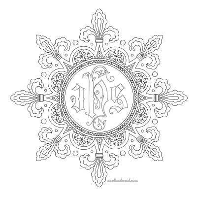 Fleur-de-lis Frame Embroidery Pattern