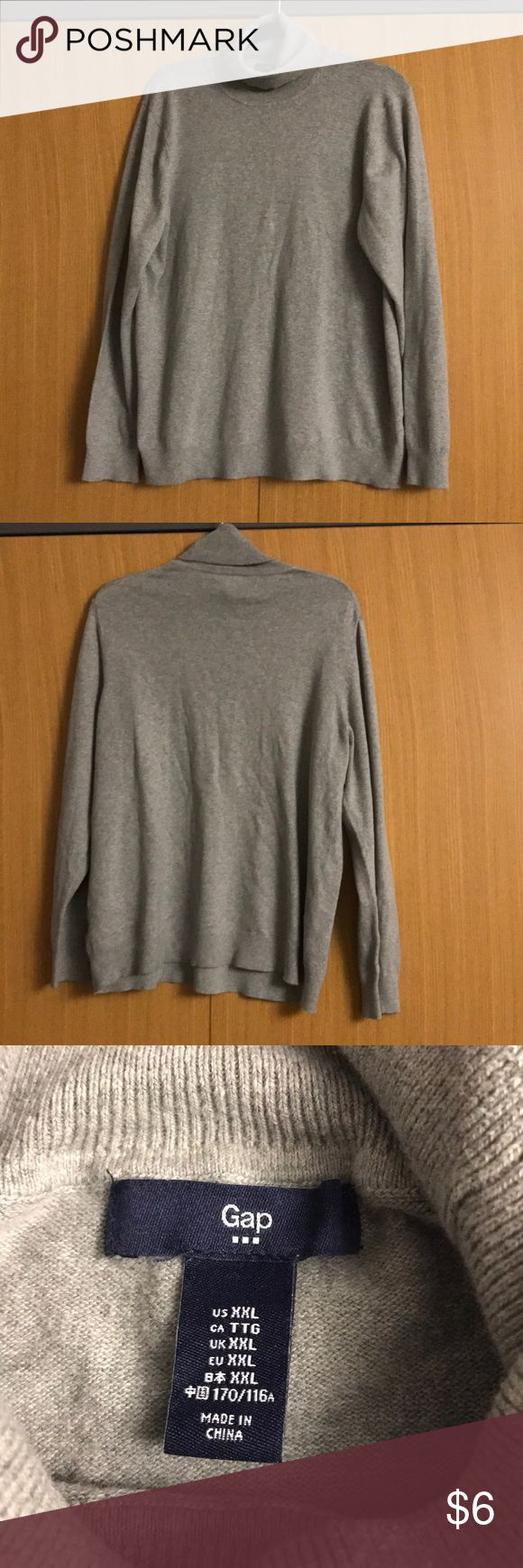 Gap turtleneck sweater Gap turtleneck sweater, heather grey, perfect basic piece to go with the latest trends in pants & skirts! Cotton/nylon/spandex, machine wash, pilling at underarms as pictured, initially purchased at Gap Outlet & Factory Store GAP Sweaters Cowl & Turtlenecks