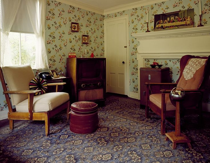 50s living room clowndeath pinterest library of congress wallpapers and libraries - Homes interiors and living ...