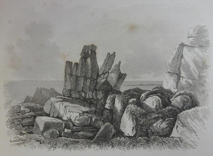 Les Grandes Rocques, Castel,1840. Drawn by Robert Mudie.