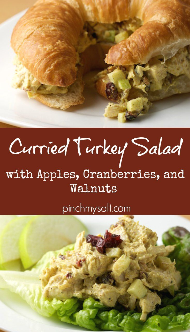 This easy curried turkey salad recipe is the perfect way to use up leftover Thanksgiving turkey! With apples, cranberries, and walnuts (or pecans), this turkey salad is healthy and packed with flavor! Make a delicious curry turkey salad sandwich on a croissant or your favorite bread to make the most of your Thanksgiving leftovers!   pinchmysalt.com