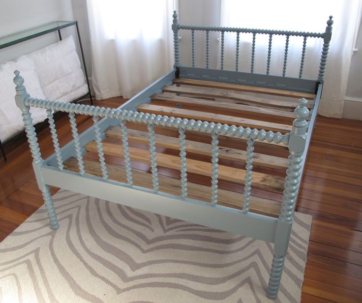 Blue Modern Vintage Spool Bed $550 - Somerville http://furnishly.com/blue-modern-vintage-spool-bed.html