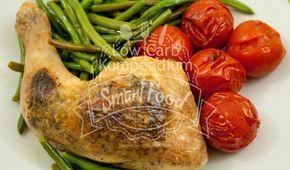 (Low Carb Kompendium) -Das Kräuter-Zitronen-Hähnchen mit Prinzessbohnen und Tomaten ist mit wenigen Zutaten schnell und unkompliziert ohne viel Geschnippel gemacht. Viel Gemüse kombiniert mit Hähnchenfleisch als Proteinquelle ist dieses Low Carb Rezept ideal zum schnellen