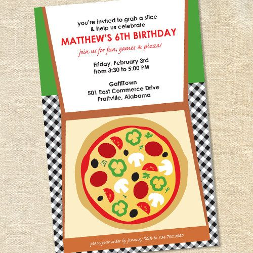 sweet wishes takeout pizza party invitations printed digital