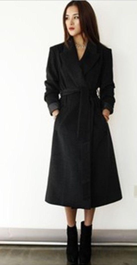 Women Elegant Fashion Long Overcoat With Sashes V-Neck Fashion OL Work Wear